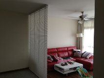 white timber blinds