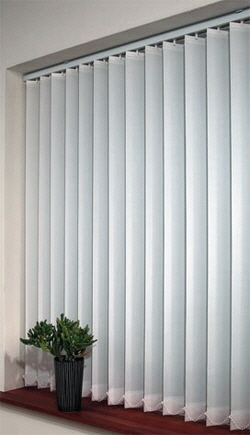 vertical blinds in office